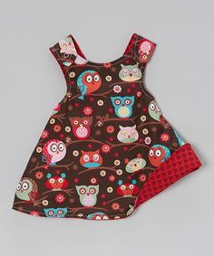 Love this Red & Brown Owl Reversible A-Line Dress - Infant, Toddler & Girls by Lollypop Ink on #zulily! #zulilyfinds