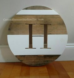 16 Custom Monogram Round Letter H Wood by CottonBlossomStudios
