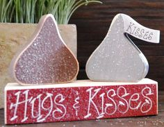 Hugs & Kisses Personalized Wood Blocks Love Set wedding home decor primitive gift holiday personalized wood sign hershey valentine decor on Etsy, $10.99