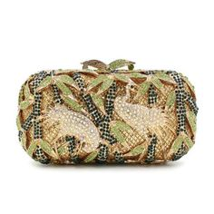 Women Clutch / Evening Bag Luxury Green Crystal Day Clutches