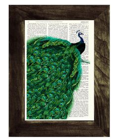 Peacock with endless tail Print on Vintage Dictionary Book altered art dictionary page illustration book print peacock art@Sara Cardarelli-Dudek