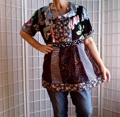 16  Femine Mini Dress Jeans Top Women's Teen UpCycled by ArtzWear