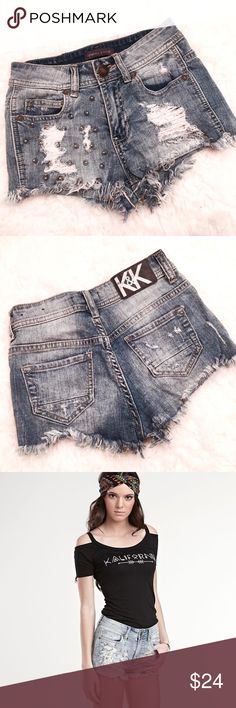 Kendall & Kylie Studded High waisted Shorts Worn once and washed! Basically NEW. Pacsun Kendall & Kylie collection studded high waisted destroyed denim shorts in size 00. Size 0 can definitely fit too!!!   **Retails $49** Kendall & Kylie Shorts Jean Shorts