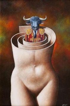 Carmen 4 by Rafal Oblinski Art Van, Wassily Kandinsky, The Minotaur, Rene Magritte, Amazing Drawings, Art For Art Sake, Surreal Art, Dark Art, Les Oeuvres