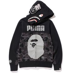 BAPE X PUMA SHARK FULL ZIP HOODIE ($355) ❤ liked on Polyvore featuring a bathing ape