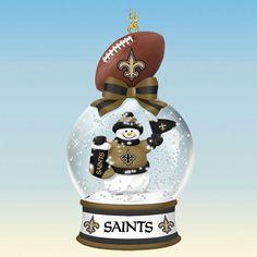 New Orleans Saints Snow Glass Ornament
