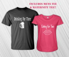 Eating for 2, Drinking for 3 Funny T-Shirts - Parents To Be - Pregnancy - Maternity Shirt - New Mom - New Dad - Baby Shower - Daddy - Mommy