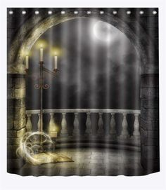 LB Magic Castle in Moon Night Shower Curtains Shower Stall Halloween Themed Bathroom Bathroom Curtain Waterproof Anti Mold -- Discover more by visiting the image web link. (This is an affiliate link). Striped Shower Curtains, Fabric Shower Curtains, Women Halloween, Halloween Themes, Halloween Shower Curtain, Hookless Shower Curtain, Medieval Costume, Shower Curtain Rings, Cosplay Dress