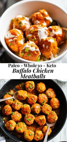 These buffalo chicken meatballs are savory, spicy and super easy to make! Just one pot and 20 minutes are all you need for these tasty meatballs. Drizzled with a homemade Ranch, they're grea Buffalo Chicken Meatballs, Spicy Meatballs, Chicken Meatball Recipes, Healthy Chicken Meatballs, Whole 30 Meatballs, Gluten Free Meatballs, Quick Appetizers, Easy Appetizer Recipes, Clean Eating Dinner