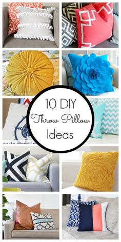 10 DIY throw pillow ideas Spruce up your home with these simple, yet stylish, DIY throw pillow ideas! Diy Throws, Diy Throw Pillows, Diy Pillow Covers, Sewing Pillows, Decorative Pillows, Cushion Covers, Burlap Pillows, Sofa Pillows, Couches
