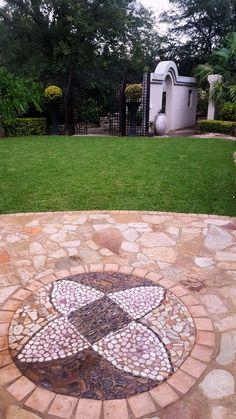 Pebble mosaics by Designer Gardens Landscaping www.designergardenlandscaping.co.za Pebble Mosaic, Pebble Art, Garden Art, Garden Design, House Design, Garden Floor, Outdoor Spaces, Outdoor Decor, Garden Landscaping