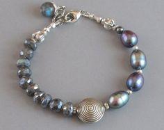 Aquamarine Prehnite Citrine Bracelet Sterling Silver by DJStrang