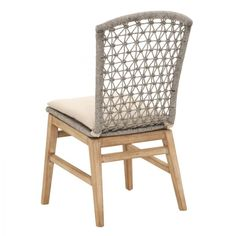 Our Set of Two Addie Platinum Dining Chairs feature a striking woven rope design,adding flair to any dining setting. Sold as a PAIR of two chairs.