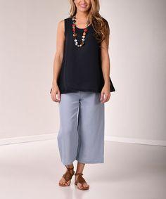 8ca0f92e51d77 Lbisse Navy Linen-Blend Scoop Neck Tank - Women. Scoop NeckCapri PantsCapri  Trousers