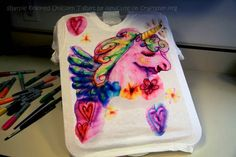 Sharpie Tie Dye Unicorn T-Shirt - awesome tshirt tut I like the idea of an actual design (unicorn) over the other tuts with random squiggles and circles.