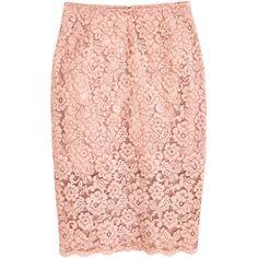 Pencilskjørt i blonde 349,- ($40) ❤ liked on Polyvore featuring pink skirt, pencil skirt, lace skirt, lace pencil skirt and knee length pencil skirt