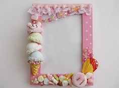 Decoden photo frame Kawaii Crafts, Cute Crafts, Diy And Crafts, Fimo Clay, Polymer Clay Projects, Photo Frame Decoration, Cold Porcelain, Painted Porcelain, Hand Painted