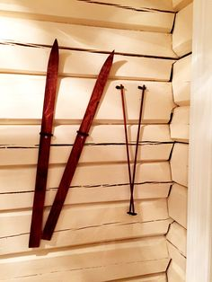 Skis and poles from #Julehuset #Drøbak  #Lodge #skis #loghouse #oslo #norway