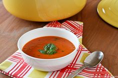Creamy Tomato Basil Soup - you can cut out the heavy cream and mix in some plain Greek yogurt instead before serving to cut the fat.