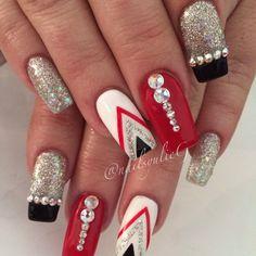 Red Black and Silver Nail Art @nailsyulieg
