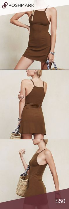 """Reformation Rhodes Dress // Brown Very comfortable + Soft •  88% Tencel // 12% Spandex • Ecofriendly dress by Reformation. • Size Small • Brown • Very easy dress to use in warm weather months, and early Fall! Pair it with a jean jacket, boots, or fly it solo with espadrilles or gladiators. It looks great with a messy too bun, which shows off your back, as well as braids, and long locks - straw hats, too. Worn only a handful of times as a """"nightgown"""" on a TV set. Reformation Dresses Mini"""