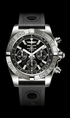 Limited Edition Chronomat 44 diver's watch by Breitling - 18K white gold satin-finished case, onyx black dial, black Ocean Racer strap.