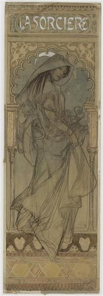Looks like Alphonse Mucha to me but I'm not sure