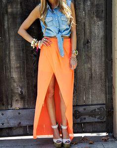 #orange #dress #high #hair