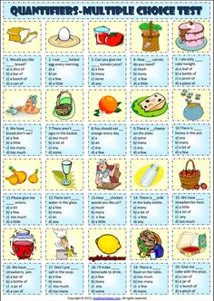 Quantifiers Multiple Choice Test ESL Worksheet for Kids English Grammar For Kids, Learning English For Kids, English Teaching Materials, English Worksheets For Kids, Kids English, Learning Time, English Study, English Lessons, Teaching English