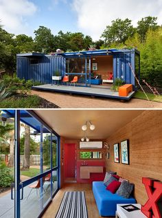 Poteet Architects created this San Antonio guest house. It's just 360 square feet, and has a living room, study area, bathroom and patio.