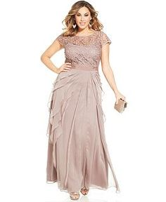 Wedding guest dress for this june adrianna papell lace for Macys plus size wedding dresses
