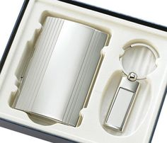 Silver Key Ring & Business Card Case Gift Set - Create A Favor