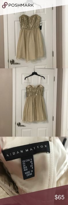 Aidan Mattox Dress Gold dress, new with tags!  Gorgeous.  I bought for my sister wedding and then ended up being pregnant so it didn't fit. Aidan Mattox Dresses Wedding