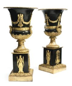 Decorative Urns Vases A Beautiful Pair Of Gilt Bronze Medici Vases Very Finely Chiselled