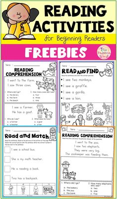 Free Reading Activities contains 8 pages of reading activities worksheets. This product is suitable for kindergarten through first grade students. Kindergarten Reading Activities, Free Kindergarten Worksheets, Reading Comprehension Activities, Reading Worksheets, Homeschool Kindergarten, Kindergarten Lessons, Teaching Reading, Kindergarten Morning Work, Reading Fluency
