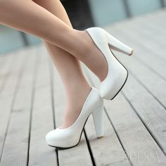 White Chunky Heel Pumps
