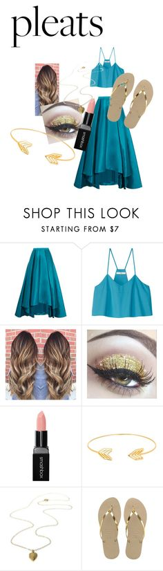"""Pleats"" by random-cuteness on Polyvore featuring Badgley Mischka, TIBI, Smashbox, Lord & Taylor and Havaianas"