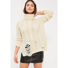 Missguided Cream Distressed Roll Neck Cable Jumper ($27) ❤ liked on Polyvore featuring tops, sweaters, ivory, cream sweater, ivory cable knit sweater, chunky cable knit sweater, slouchy sweater and oversized chunky cable knit sweater