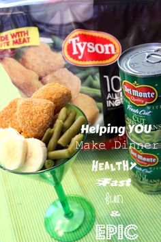 #ad  Making dinner is a juggling act sometimes.  Here's a way to have fun, make a healthy dinner, make a fast dinner...and then, head out to see EPIC the movie (opening 5/24/13)  We used 100% Natural Tyson Chicken Nuggets, Del Monte Green Beans, bananas, and a fun glass!  #MealsTogether #cbias
