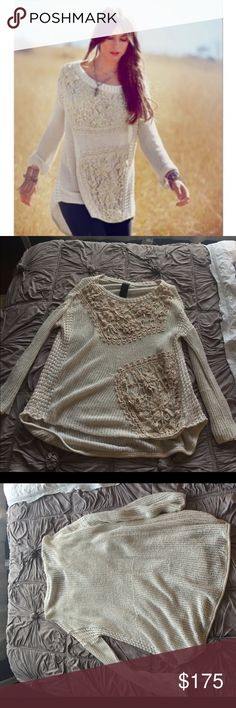 FP New Romantics reflections in crochet pullover Sz small. Oversized slouchy fit. Rare and hard to find. There are a few places where it has snagged and the fabric is pulling, see photos for details. No trades Free People Sweaters Crew & Scoop Necks