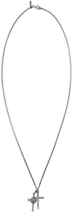 Emanuele Bicocchi Silver Double Cross Bracelet