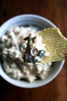 caramelized onion and sour cream dip with Ruffles potato chips