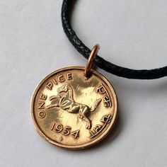 vintage 1954 INDIA CHARM pendant necklace coin jewelry black cotton cord bronze coin No.000007 on Etsy, $12.99