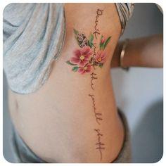 rosa rugosa & lettering #타투이스트리버 #타투 #그라피투 #tattoo #graffittoo #수채화타투 #watercolortattoo