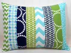 White Quilt  these colors? Pillow Cover - 12 x 16 Inches - Aqua Blue, Navy and Green Chevron