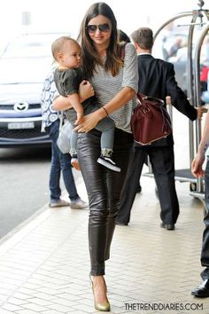 leather pants, mommy outfit