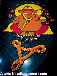 Diwali Rangoli,Art at Adobe, Rangoli is a traditional decorative folk art of India. These are decorative designs made on floors of living rooms and courtyards during Hindu festivals and are meant as sacred welcoming areas for the Hindu deities. The ancient symbols have been passed on through the ages, from each generation to the one that followed, thus keeping both the art form and the tradition alive. Rangoli and similar practices are followed in different Indian states; in Tamil Nadu, one…