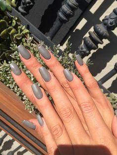Grey matte gel nails squareletto