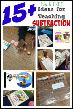 15+ Fun and Free Ideas for Teaching Subtraction  BY ABBIE Today I am sharing 15+ Fun and Free Ideas for Teaching Subtraction! this year I decided to to take a different approach to teaching subtraction and after 2 full weeks, I am happy to report that my kids are subtracting superstars!! I know you are asking, what I did differently this year, so here goes a post packed FULL of games and ideas!