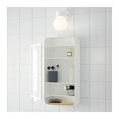 IKEA - GUNNERN, Mirror cabinet with 1 door, white, , Shelves with raised edge for safe storage.The mirror comes with safety film on the back, which reduces the risk of injury if the glass is broken.